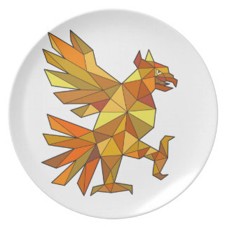 Cuauhtli Glifo Eagle Fighting Stance Low Polygon Plate
