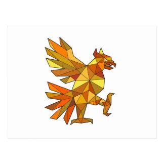 Cuauhtli Glifo Eagle Fighting Stance Low Polygon Postcard