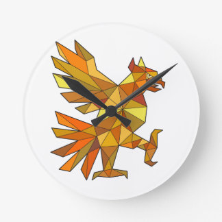 Cuauhtli Glifo Eagle Fighting Stance Low Polygon Round Clock