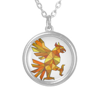 Cuauhtli Glifo Eagle Fighting Stance Low Polygon Silver Plated Necklace