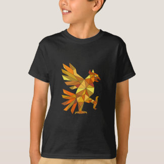 Cuauhtli Glifo Eagle Fighting Stance Low Polygon T-Shirt