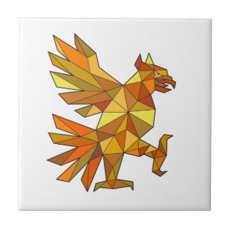 Cuauhtli Glifo Eagle Fighting Stance Low Polygon Tile