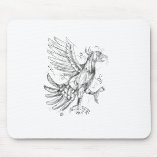 Cuauhtli Glifo Eagle Fighting Stance Tattoo Mouse Pad