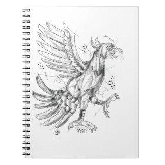 Cuauhtli Glifo Eagle Fighting Stance Tattoo Notebook