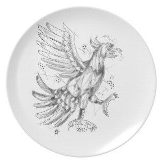 Cuauhtli Glifo Eagle Fighting Stance Tattoo Plate