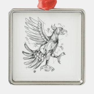 Cuauhtli Glifo Eagle Fighting Stance Tattoo Silver-Colored Square Ornament