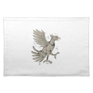 Cuauhtli Glifo Eagle Symbol Low Polygon Placemat