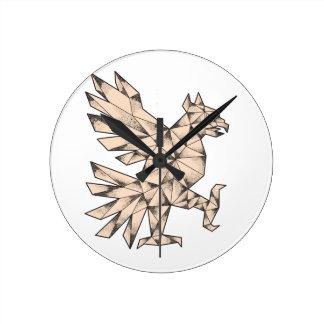 Cuauhtli Glifo Eagle Tattoo Round Clock