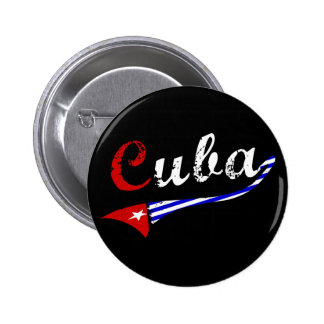 Cuba Button with Cuban Flag Colors