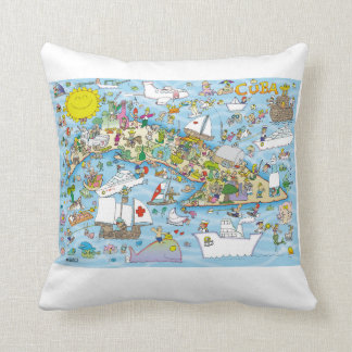 Cuba Cartoon Map  The best present for a Cuban Throw Pillow