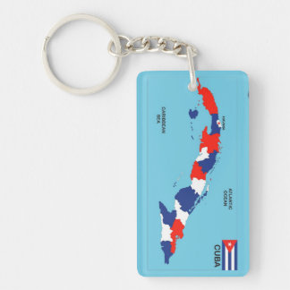 Cuba country political map flag keychain