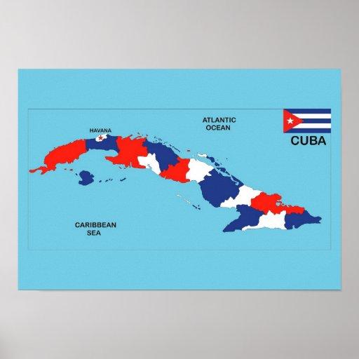 Cuba country political map flag print