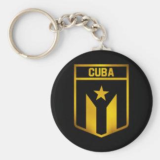 Cuba Emblem Basic Round Button Keychain