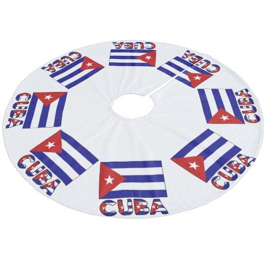 Cuba Flag and Word Dark Blue Stripes Fleece Tree Skirt