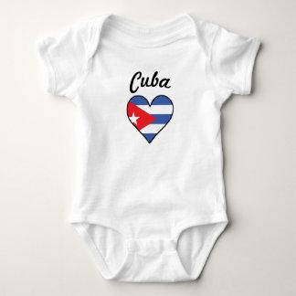 Cuba Flag Heart Baby Bodysuit