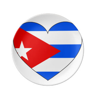 Cuba Flag Heart Plate