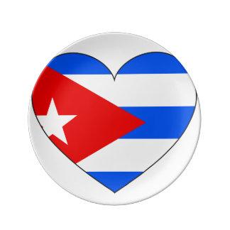 Cuba Flag Heart Porcelain Plates