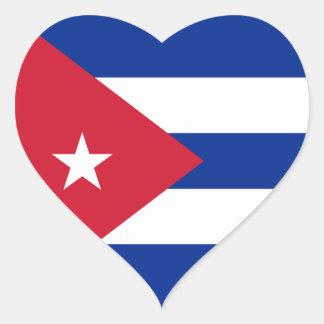 Cuba Flag Heart Sticker