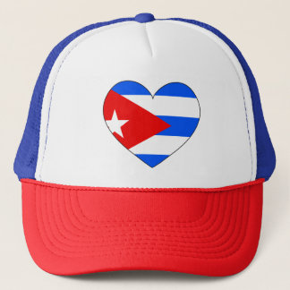 Cuba Flag Heart Trucker Hat