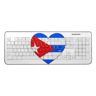 Cuba Flag Heart Wireless Keyboard