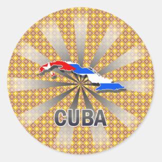 Cuba Flag Map 2.0 Classic Round Sticker