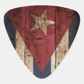 Cuba Flag on Old Wood Grain Guitar Pick