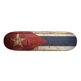 Cuba Flag on Old Wood Grain Skateboards