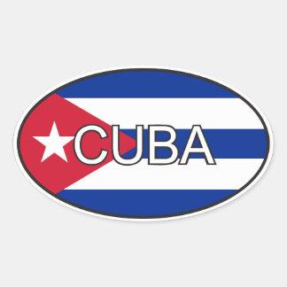 Cuba Flag Oval Oval Sticker