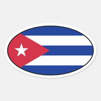 Cuba Flag Oval Sticker