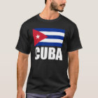 Cuba Flag White Text T-Shirt