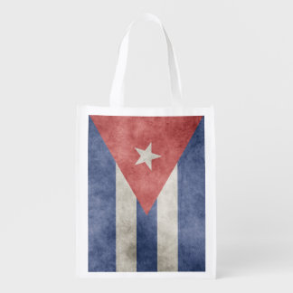Cuba Grunge Flag One-Sided Reusable Grocery Bag