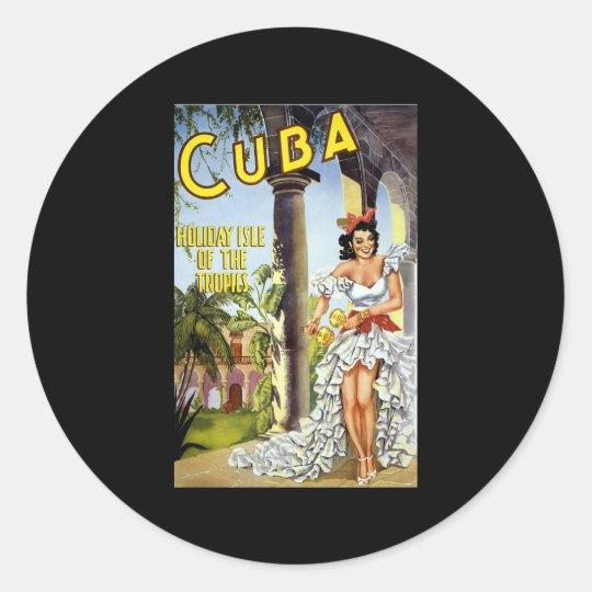 Cuba Holiday Isle Of The Tropics Round Sticker