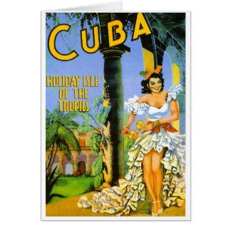 Cuba holiday isle of the tropics travel poster card