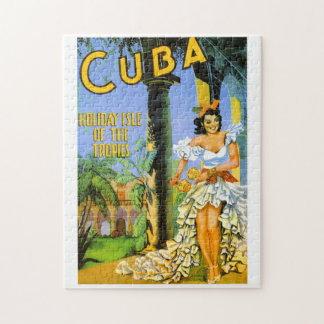 Cuba holiday isle of the tropics travel poster jigsaw puzzle