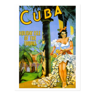Cuba holiday isle of the tropics travel poster postcard