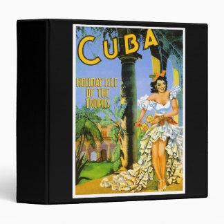 Cuba holiday isle of the tropics travel poster vinyl binder