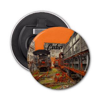 Cuba locomotives and train wagons bottle opener button bottle opener