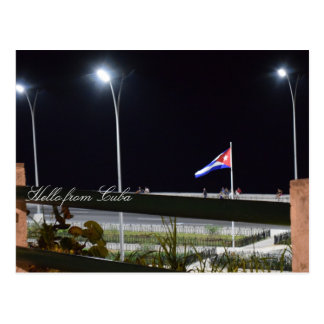 Cuba Malecon Night Sea Wall Photo Postcard