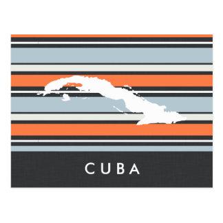 Cuba Map: Modern Stripes Postcard