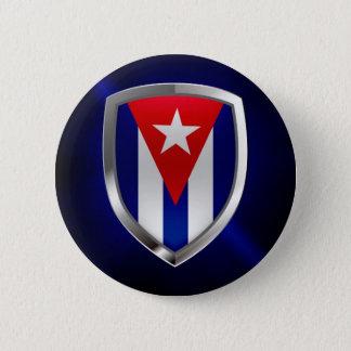 Cuba Mettalic Emblem 2 Inch Round Button