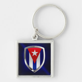 Cuba Mettalic Emblem Silver-Colored Square Keychain