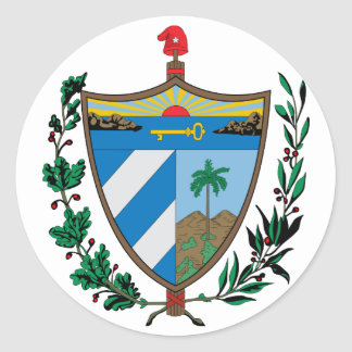 Cuba Official Coat Of Arms Heraldry Symbol Round Sticker