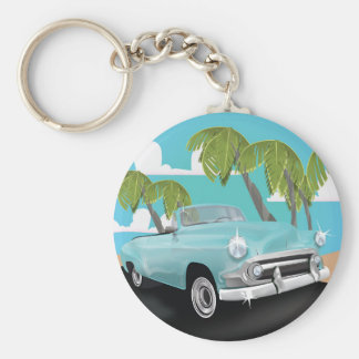 Cuba vintage car travel poster keychain