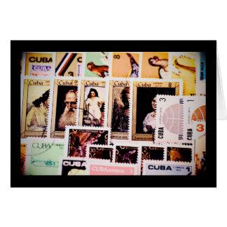 Cuba, vintage postage stamps, greeting cards