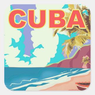 Cuba vintage travel poster square sticker