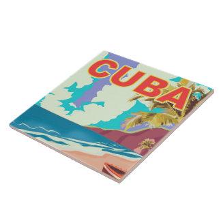 Cuba vintage travel poster tile