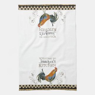 Cubalaya Rooster Black & Tan Check Swirl Kitchen Kitchen Towel