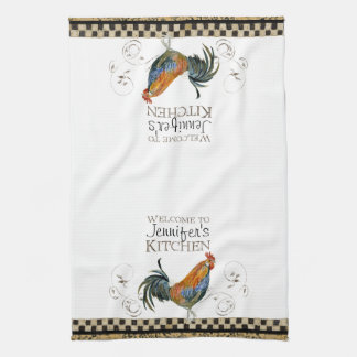 Cubalaya Rooster Black & Tan Check Swirl Kitchen Towels