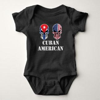 Cuban American Flag Skulls Baby Bodysuit