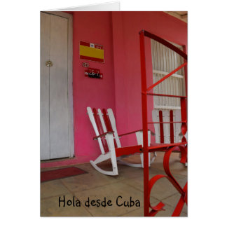 Cuban Bed and Breakfast Colorful Porch Card